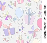 kiddies pattern of gifts ... | Shutterstock .eps vector #242880481