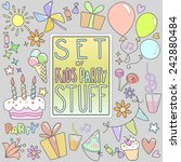 set of kids party stuff. multi... | Shutterstock .eps vector #242880484