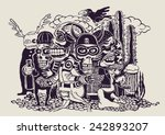 crazy persons  bikers  skulls... | Shutterstock .eps vector #242893207