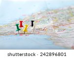 travel destination points on a... | Shutterstock . vector #242896801