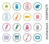 art supplies icon set
