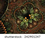 Orange Fractal Floral Heart ...
