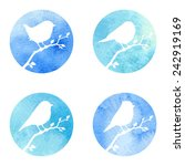 birds on a watercolor background | Shutterstock .eps vector #242919169