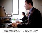 serious devoted business man... | Shutterstock . vector #242921089