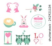 vector set of valentines day... | Shutterstock .eps vector #242921134
