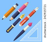 writing and paint tools  | Shutterstock . vector #242925721
