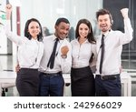 group of happy  cheerful call... | Shutterstock . vector #242966029