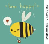 bee happy postcard icon. the...