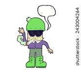 cartoon man smoking pot with... | Shutterstock .eps vector #243004264