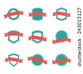 set of blank retro badges | Shutterstock .eps vector #243015127