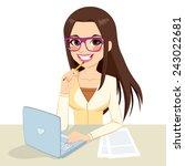 beautiful pensive brunette... | Shutterstock .eps vector #243022681
