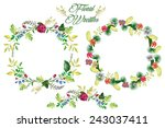 watercolor flowers circle frame ... | Shutterstock . vector #243037411