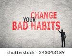 asian businessman write text on ... | Shutterstock . vector #243043189