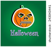 pumpkin halloween sticker on... | Shutterstock .eps vector #243043441