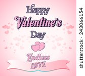 happy valentines day lettering... | Shutterstock .eps vector #243066154