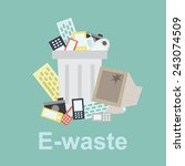 e waste  recycle bin filled... | Shutterstock .eps vector #243074509