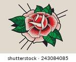 rose flower. tattoo dot work... | Shutterstock .eps vector #243084085