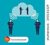 businessmen thinking wireless... | Shutterstock .eps vector #243131329