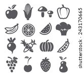fruits and vegetables icons | Shutterstock .eps vector #243170665