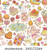 seamless cartoon vector pattern ... | Shutterstock .eps vector #243172264