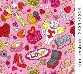 seamless cartoon vector pattern ... | Shutterstock .eps vector #243172354
