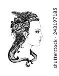 black and white ink style... | Shutterstock . vector #243197185