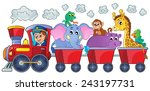 train with happy animals  ... | Shutterstock .eps vector #243197731