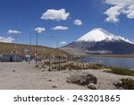 Small photo of CIRCA PUTRE, CHILE - OCTOBER 22, 2013: Queue of trucks wait at the border control at the territory of Lauca National park at 3.200 meters AMSL circa Putre, Chile.