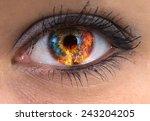 Woman Blue Eye With Burning...