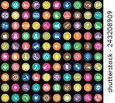 100 crisis icons big universal... | Shutterstock .eps vector #243208909
