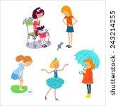 set with kids play outdoor | Shutterstock . vector #243214255
