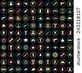 100 army icons big universal... | Shutterstock .eps vector #243218107