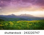 Mount Wilson overlooking a meadow in Telluride, CO - stock photo