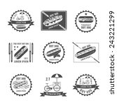 set of vintage hot dog logos ... | Shutterstock .eps vector #243221299
