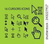 16 pixel black cursors ... | Shutterstock .eps vector #243227917