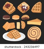 set of chocolate sweets  cakes... | Shutterstock .eps vector #243236497