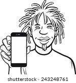 line drawing of a jamaican man...