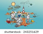 space tourism concept cartoon.... | Shutterstock .eps vector #243251629