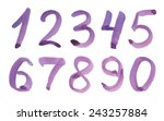 watercolor numbers on a white... | Shutterstock . vector #243257884