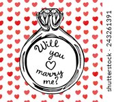 hand drawn will you marry me... | Shutterstock .eps vector #243261391