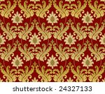 Decorative red and gold renaissance background - stock photo