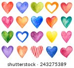 watercolor hearts set ... | Shutterstock . vector #243275389