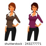 cartoon woman in smart casual...   Shutterstock .eps vector #243277771