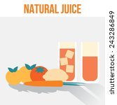 glasses with natural juice from ... | Shutterstock .eps vector #243286849