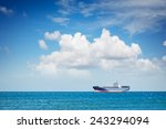 Container Ship At Anchor On Th...