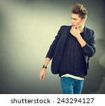 fashion young model man... | Shutterstock . vector #243294127