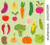 cute vegetables  healthy food.... | Shutterstock .eps vector #243295399