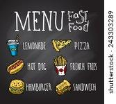 fast food menu chalkboard... | Shutterstock .eps vector #243303289
