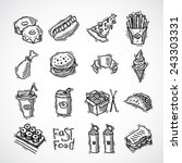 fast food black sketch... | Shutterstock .eps vector #243303331
