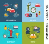 auto sport flat icons set with... | Shutterstock .eps vector #243305701